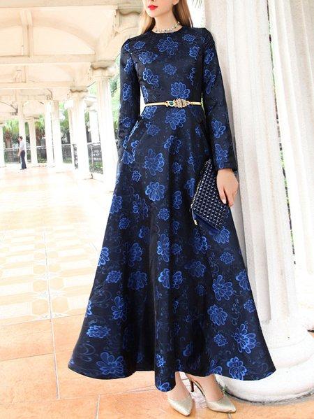 Blue Vintage Floral Skater Maxi Dress