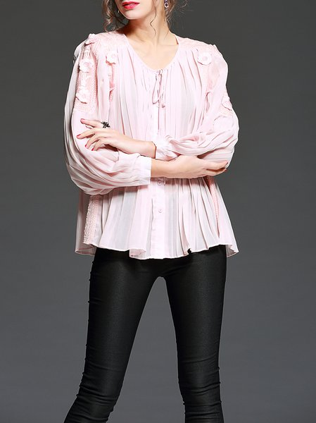 Sweet Plain Long Sleeve Blouse