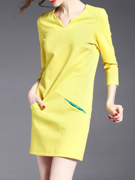 Yellow Simple Paneled Mini Dress