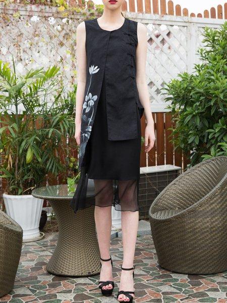Black Hand-drawn Casual Crew Neck Midi Dress