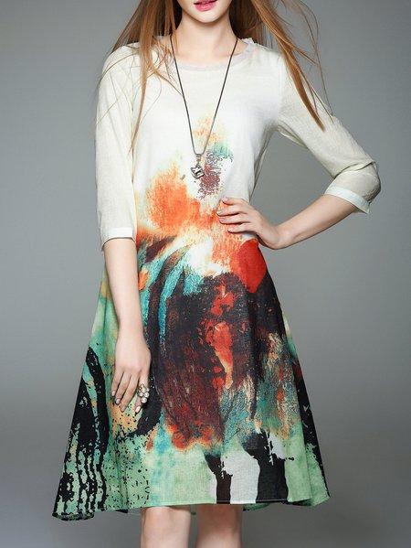 3/4 Sleeve Vintage Polyester Midi Dress