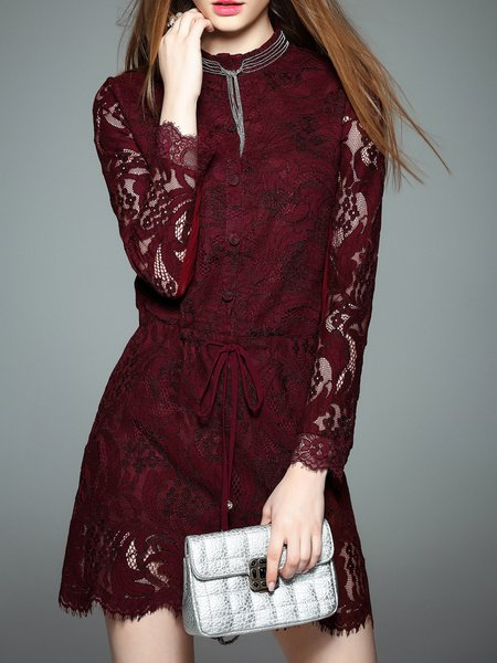 Red Lace Crew Neck Plain Long Sleeve Mini Dress