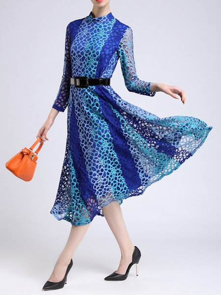 Blue Long Sleeve Lace Skater Silk-blend Midi Dress