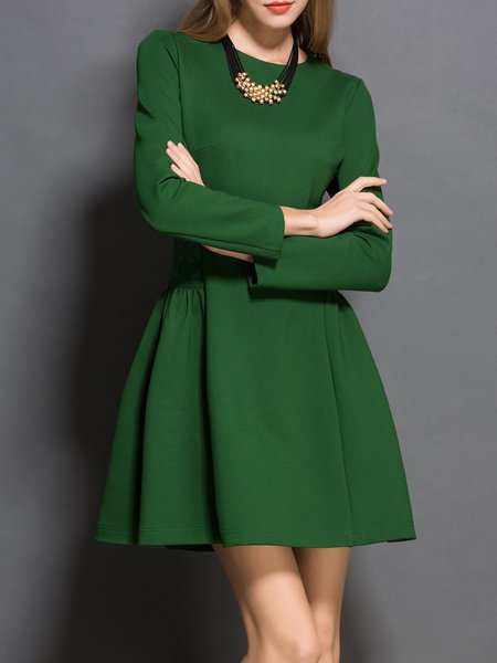 Green Crew Neck Cotton Long Sleeve Mini Dress