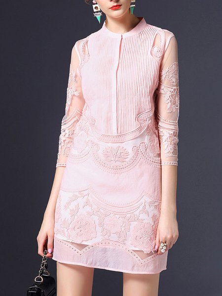 Pink Stand Collar 3/4 Sleeve Floral-embroidered Mini Dress