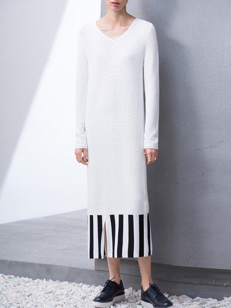 Beige V Neck Shift Stripes Long Sleeve Midi Dress
