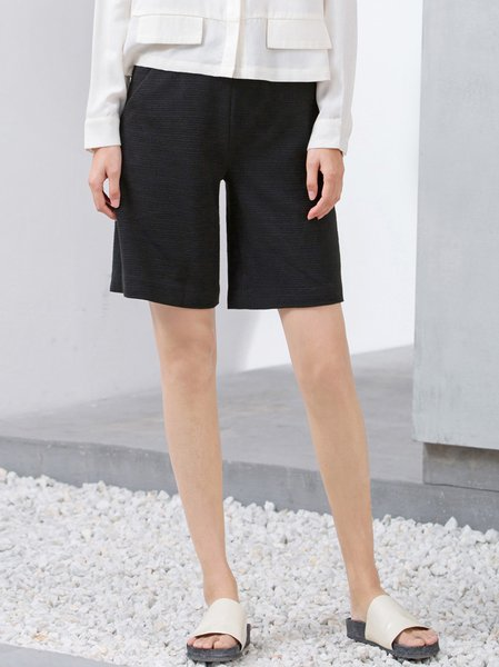 Black Casual Plain H-line Polyester Shorts