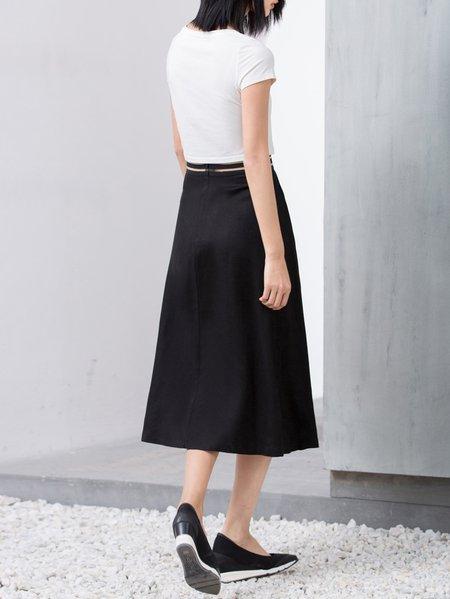 Black Zipper A-line Linen Casual Midi Skirt - StyleWe.com