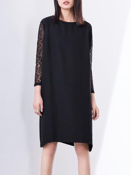 Black Casual Floral Midi Dress