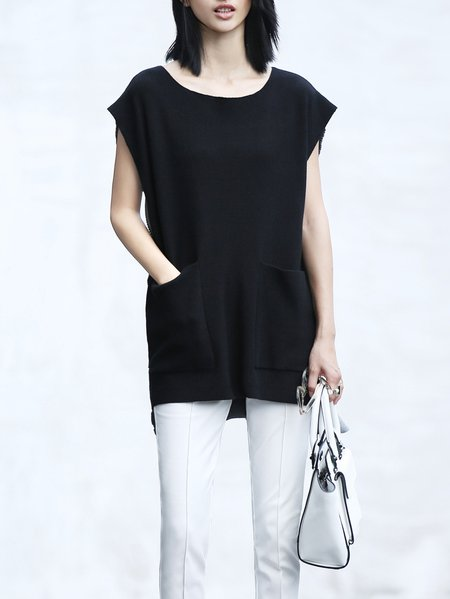 Black Asymmetric Casual Sweater