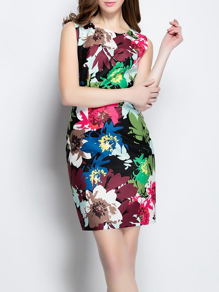 Floral Vintage Polyester Printed Sleeveless Mini Dress