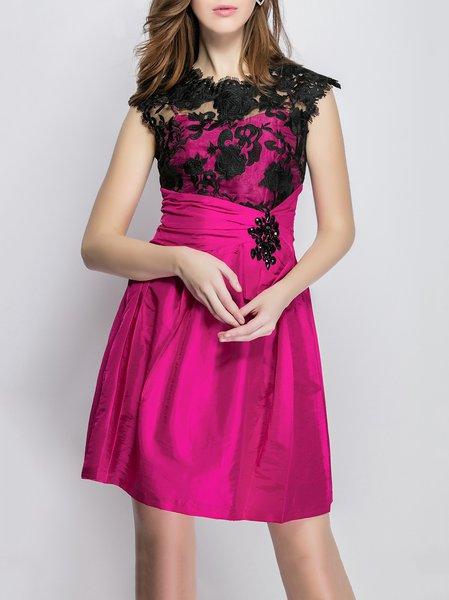 Beaded Cocktail Polyester Sleeveless Mini Dress