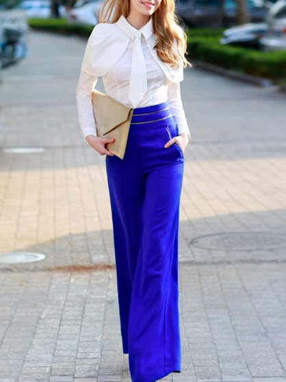 Blue Plain Vintage Wide Leg Pants