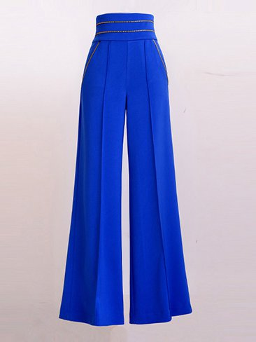Blue Plain Vintage Wide Leg Pants - StyleWe.com