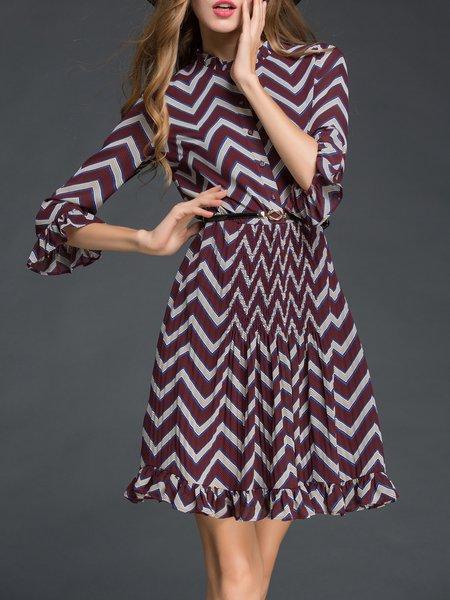 Multicolor Stripes 3/4 Sleeve Midi Dress