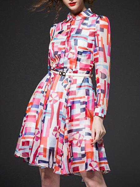 Multicolor V Neck Long Sleeve Geometric Midi Dress
