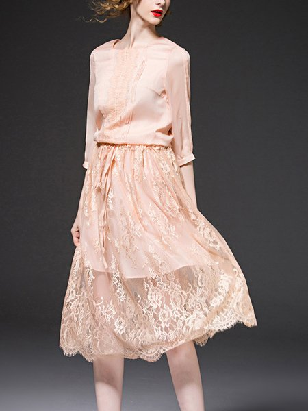Nude Sweet Chiffon Midi Dress