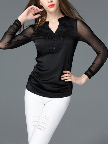 Polyester Simple Plain Long Sleeve Embroidered Long Sleeved Top