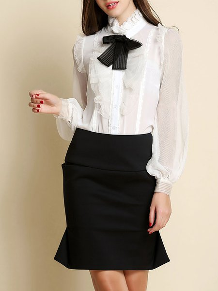 Bow Long Sleeve Plain Casual Polyester Blouse