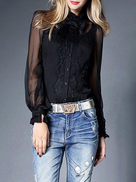 Black Casual Silk Blouse