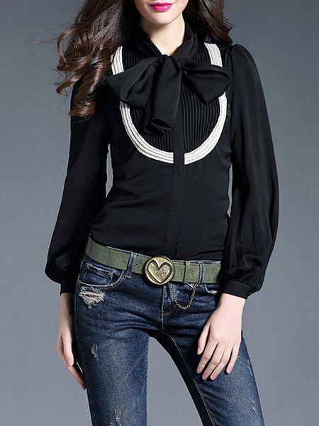 Long Sleeve Vintage Bow Blouse