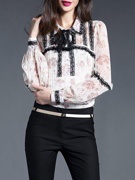 Apricot H-line Floral Elegant Shirt Collar Blouse
