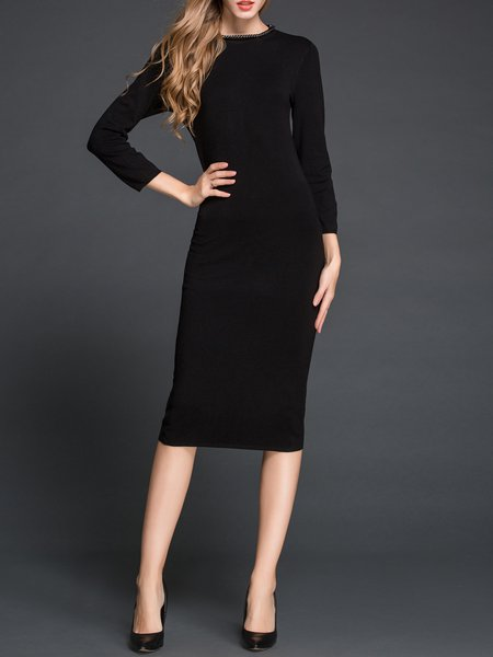 Black Plain 3/4 Sleeve Sweater Dress