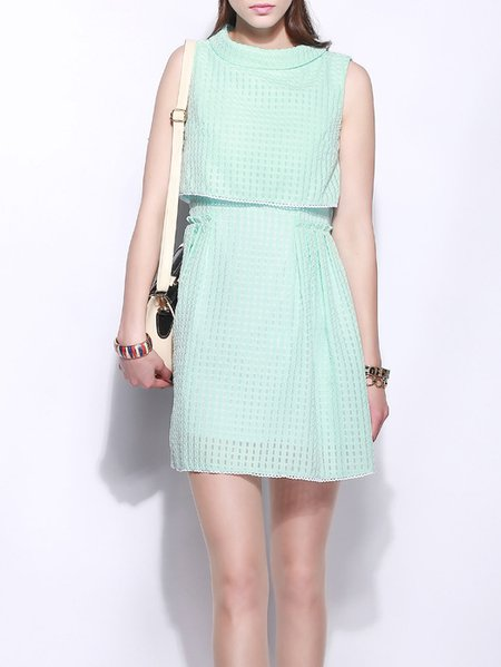 Green A-line Polyester Sleeveless Mini Dress