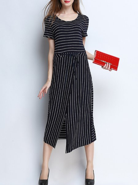 Dark Blue Polyester Casual Crew Neck H-line Midi Dress