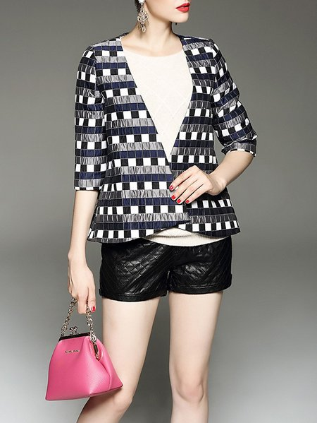 Multicolor Polyester Casual Jacquard Cropped Jacket
