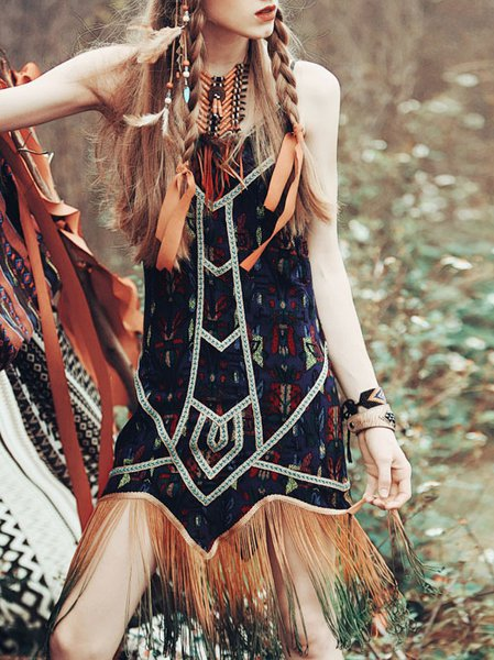 Fringed Spaghetti Viscose A-line Vintage Mini Dress