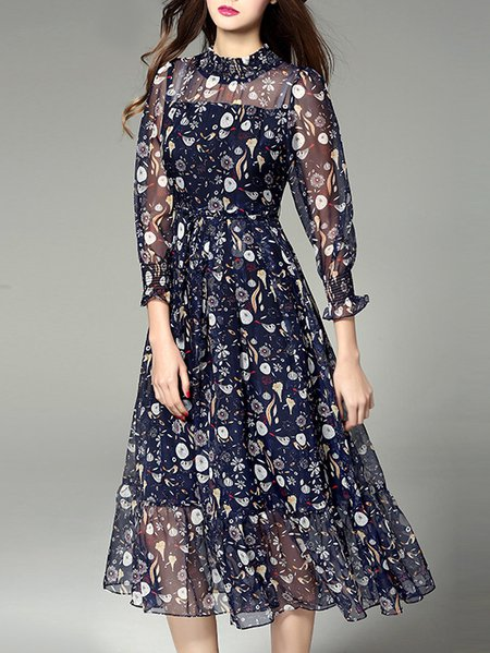 Floral-print Casual Long Sleeve Floral Midi Dress