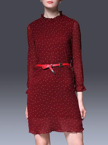 Polka Dots 3/4 Sleeve Stand Collar Sweet Silk Mini Dress with Belt