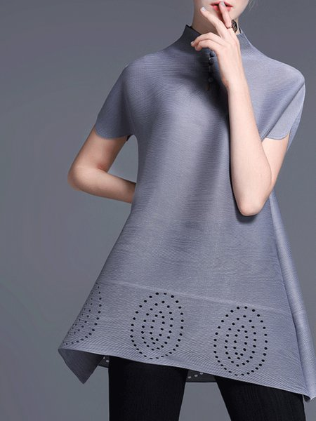 Gray Simple Stand Collar Short Sleeved Top