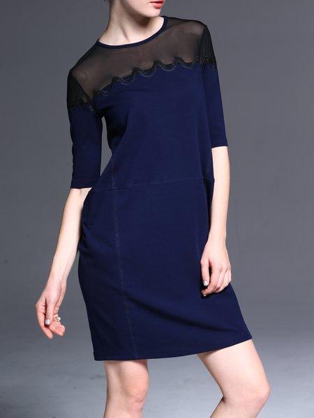 Simple Paneled Half Sleeve Mini Dress