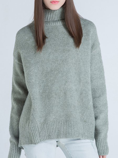 Green Casual Wool Blend Sweater