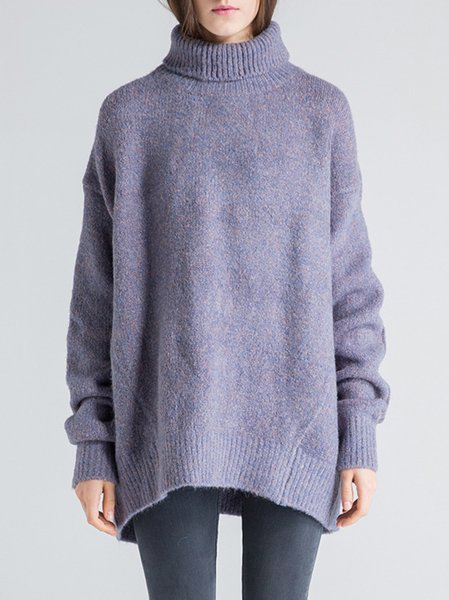 Purple Turtleneck Long Sleeve Sweater