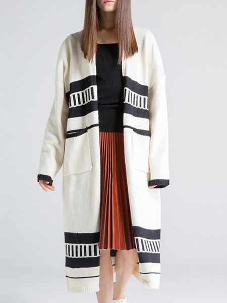 White Stripes Wool Blend Knitted Long Sleeve Cardigan