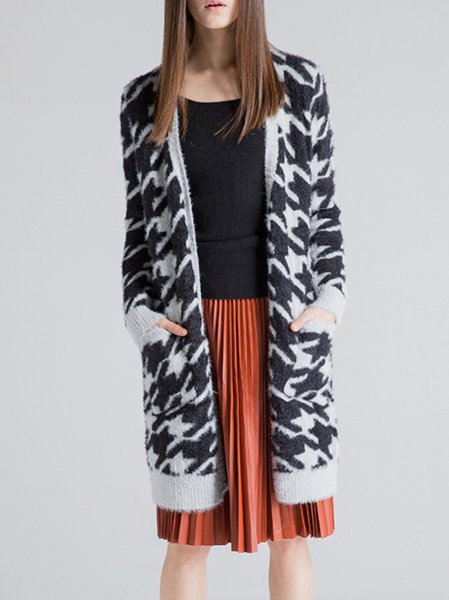 Black Knitted Houndstooth Long Sleeve Cardigan