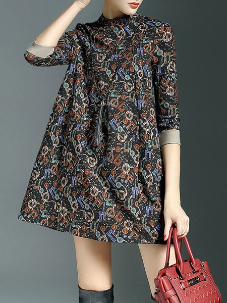 3/4 Sleeve Color-block Casual Mini Dress