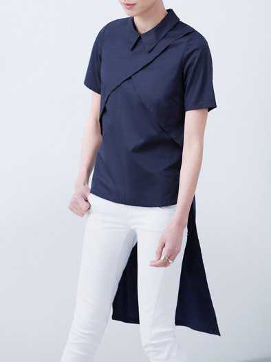 Asymmetric V Neck Casual Short Sleeve H-line Blouse