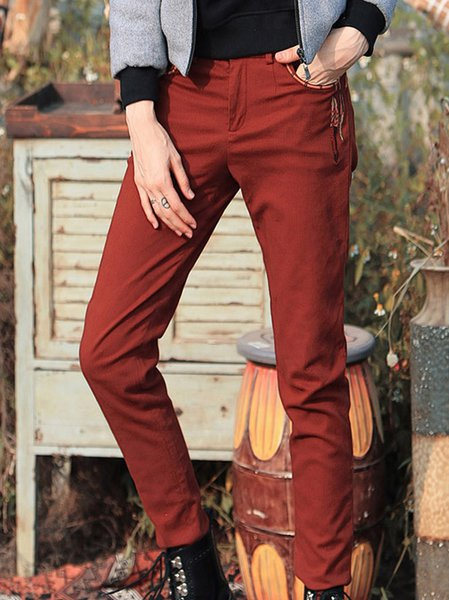 Cotton-blend Casual Skinny Leg Pants