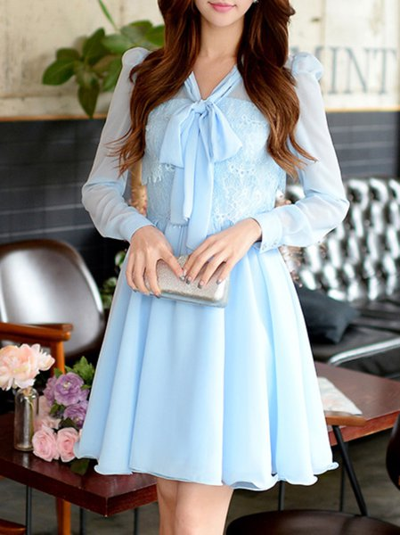 Blue V Neck A-line Girly Midi Dress