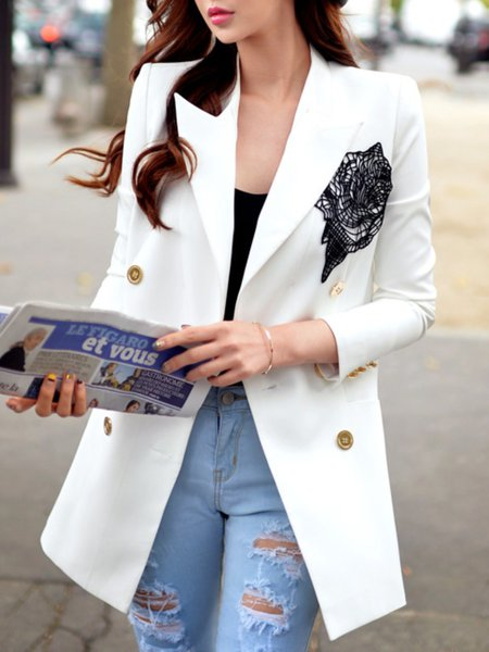 White Appliqued Lapel 3/4 Sleeve Floral Blazer
