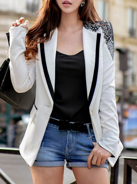 Work A-line Long Sleeve Lapel Viscose Blazer