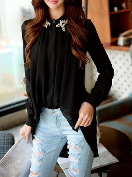 Long Sleeve Plain Sweet Beaded Blouse