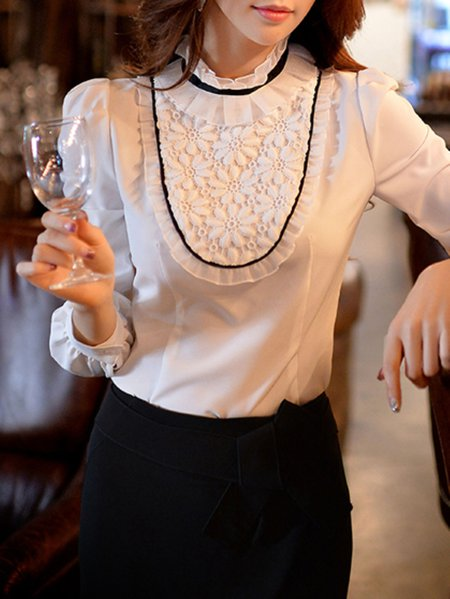 Appliqued Balloon Sleeve Plain Vintage Polyester Blouse