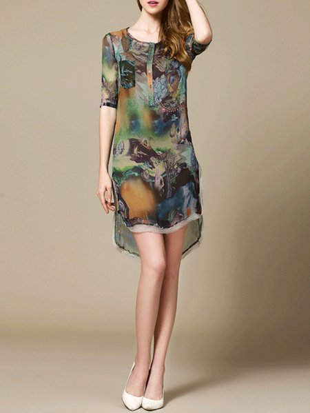 Blue Half Sleeve High Low Abstract Printed Silk Mini Dress