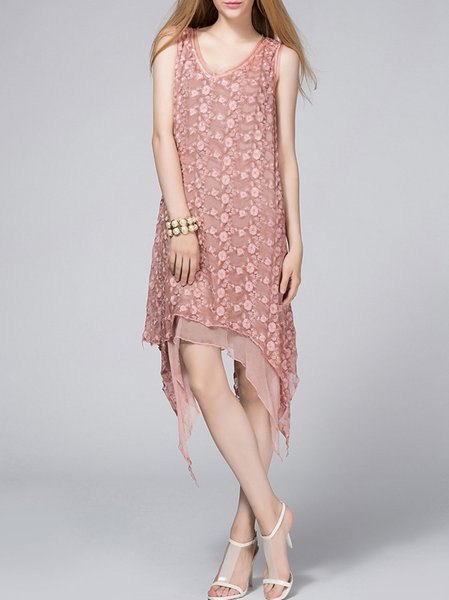 Sweet Sleeveless Asymmetrical Silk Midi Dress
