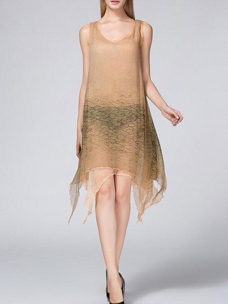 Apricot Sleeveless V Neck Midi Dress